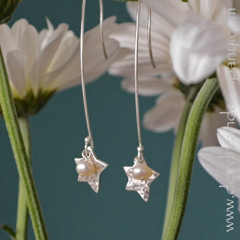 Shine Brightly Sterling Star and Pearl Earrings