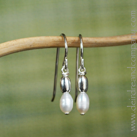 Simple Pearl and Sterling Earrings