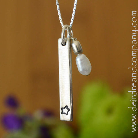Star Blessing Bar Necklace in Sterling Silver