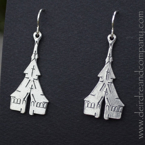 Stavkirke Earrings in Pewter