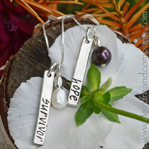 Hope and Survivor Blessing Bar Necklaces in Sterling Silver
