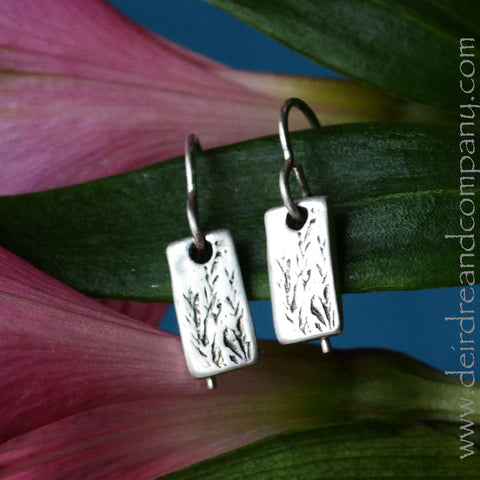 Tiny Rye Grass Earrings in Sterling Silver