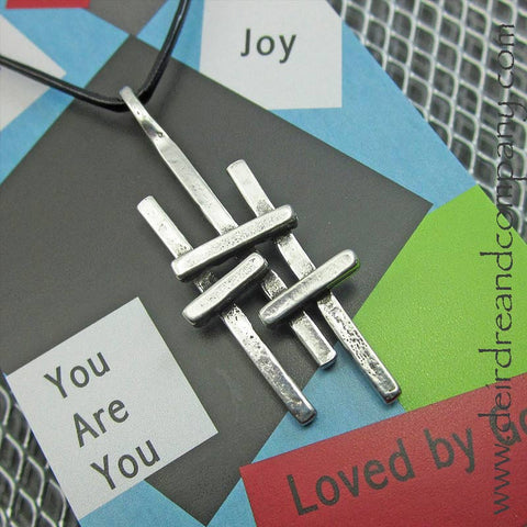 Triple Cross Necklace in Pewter