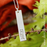 Fearless and Trust Reversible Bar Necklace in Sterling