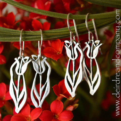 Tulip Earrings in Sterling Silver