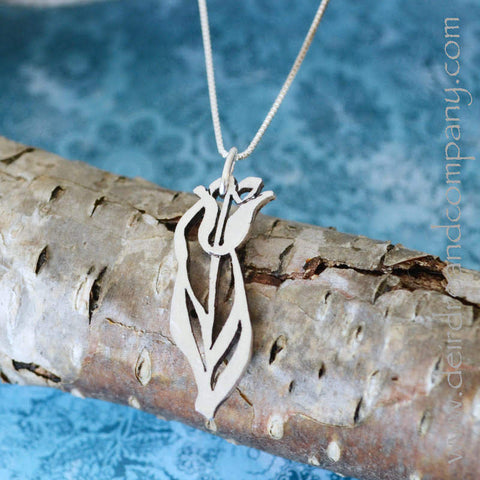 Tulip Pendant Necklace in Sterling Silver