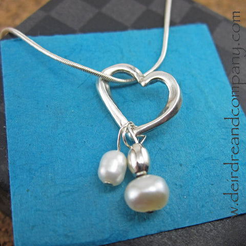 Unending Love Sterling Heart Necklace with Pearls