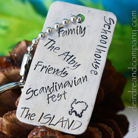 Washington Island Custom Stamped Dog Tag Key Chain