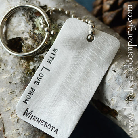 Love from Minnesota Pewter Dog Tag Key Chain