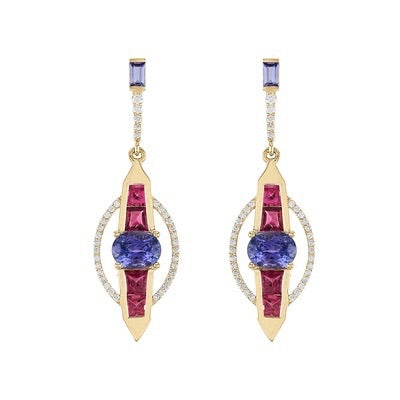 Tourmaline/Tanzanite Diamond Earrings