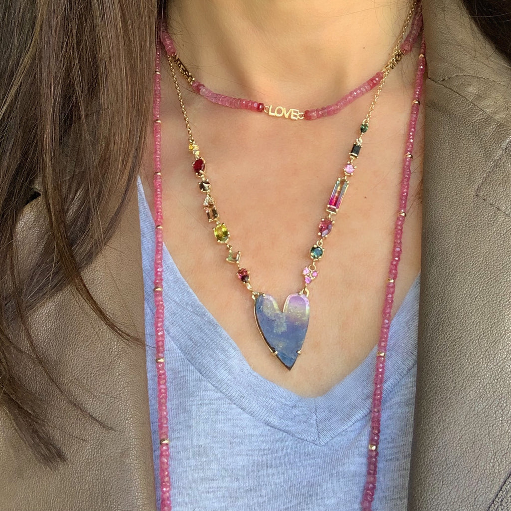 Pink Sapphire Beaded Necklaces