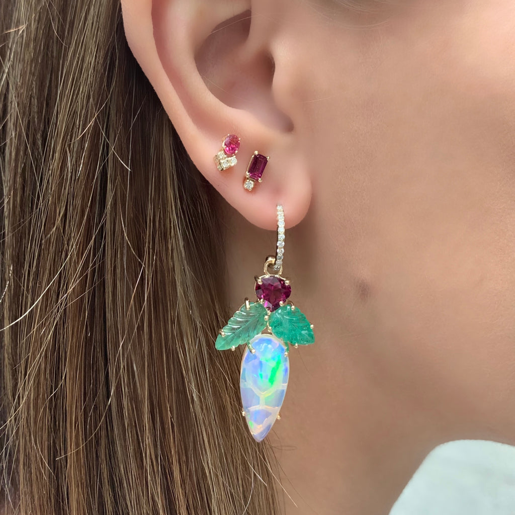 Opal Rhodolite Drop Earrings