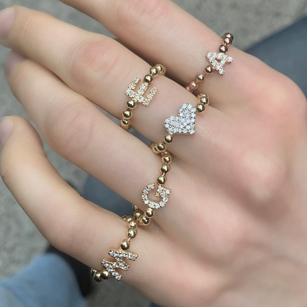 Diamond Initial Bead Chain Rings