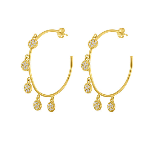 5 Circle Diamond Hoop Earrings