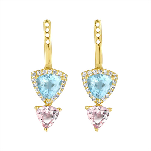 Pink Tourmaline & Aquamarine Ear Jacket