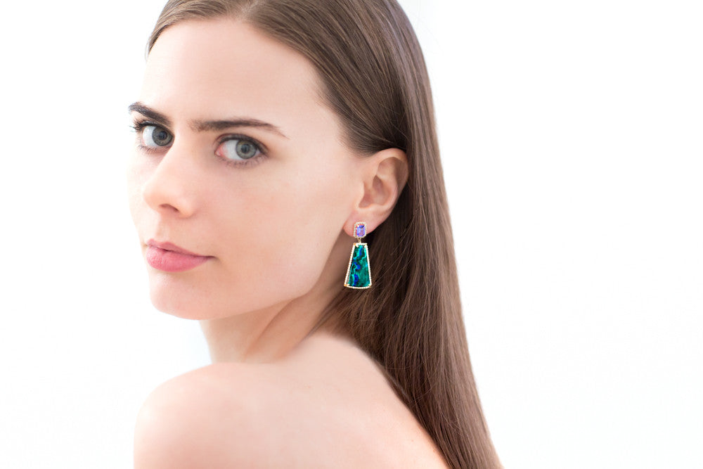 Malachite Azurite Tanzanite Diamond Earring