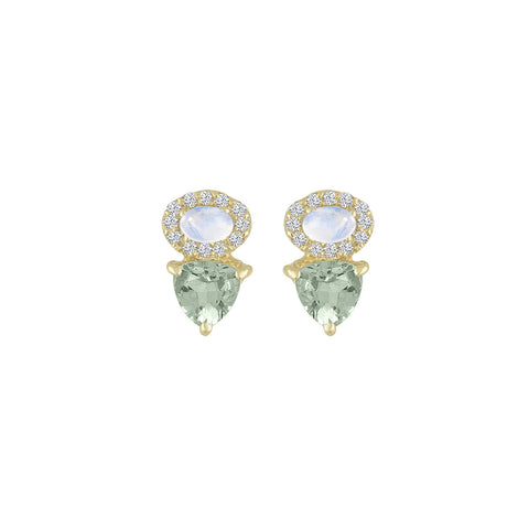 Rainbow Moonstone Aquamarine Diamond Studs