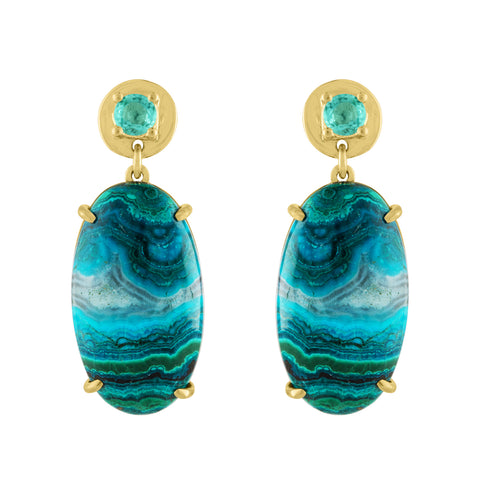 Malachite Azurite, Emerald Earrings