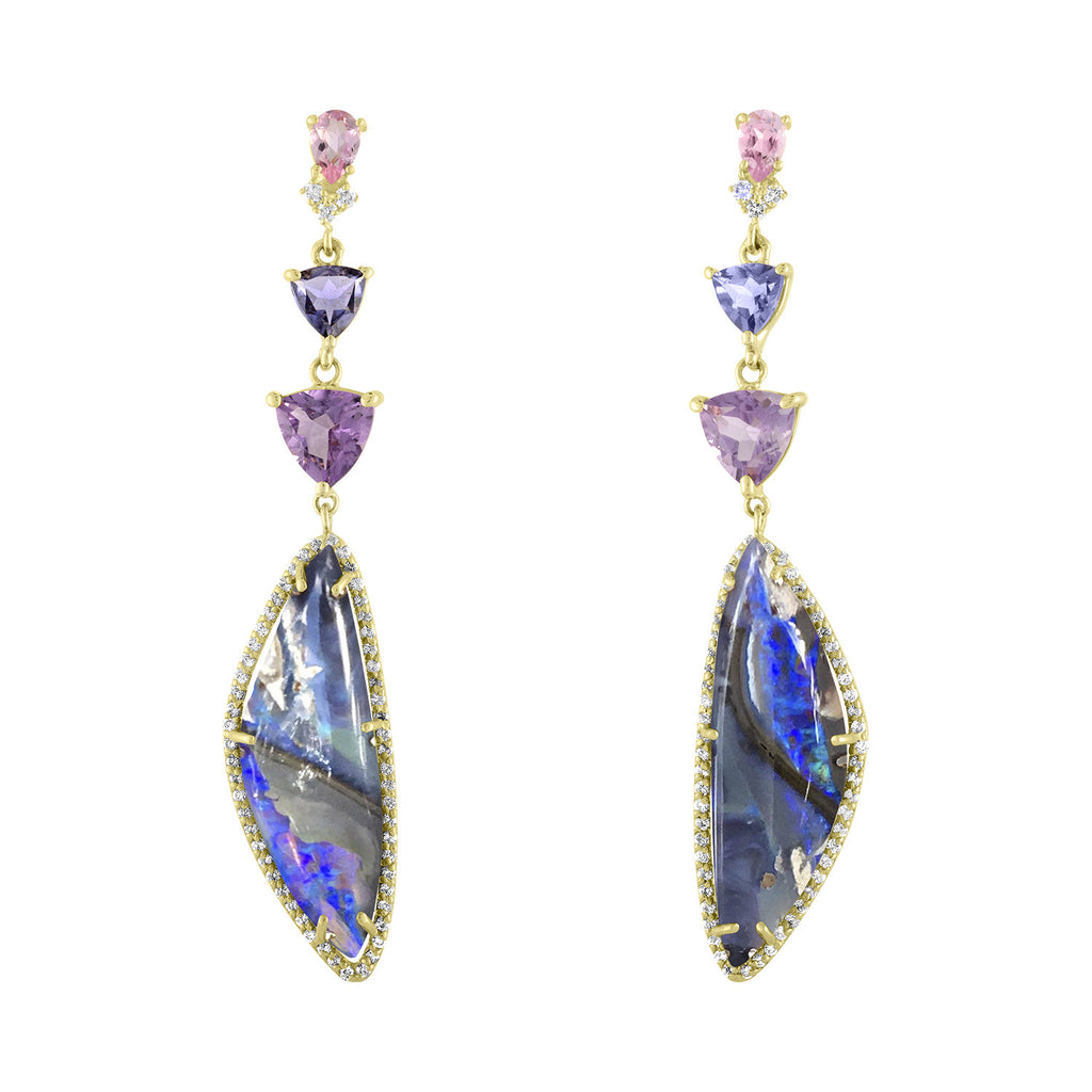 Boulder Opal Amethyst Iolite Earrings