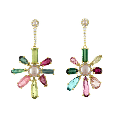 Floral Tourmaline Earrings