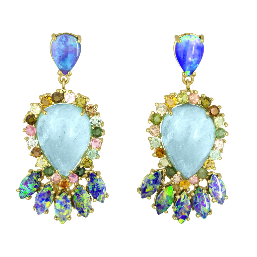 Aquamarine Boulder Opal Multicolor Tourmaline Earrings