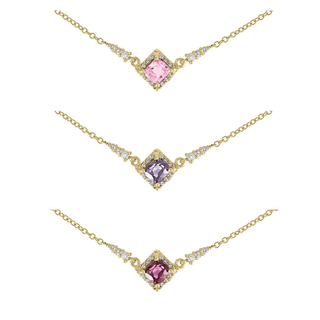 Spinel Diamond Square Necklace