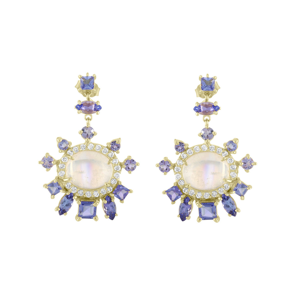 Rainbow Moonstone Tanzanite Diamond Earrings
