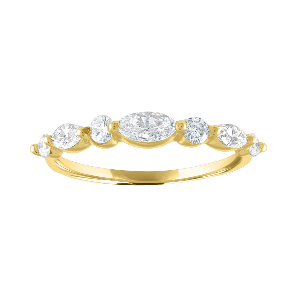 Marquise Round Half Eternity Band