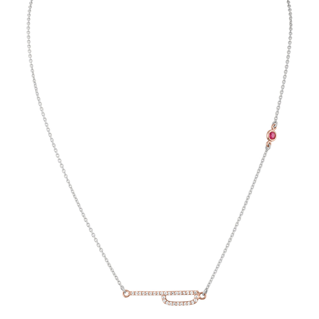 Elongated Diamond Initial Necklace