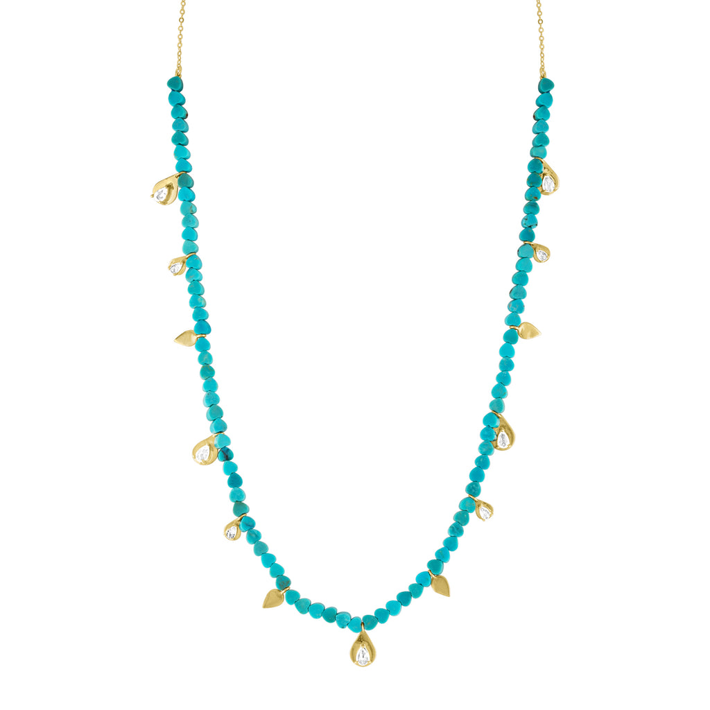 Beaded Turquoise/Moonstone Drop Necklace