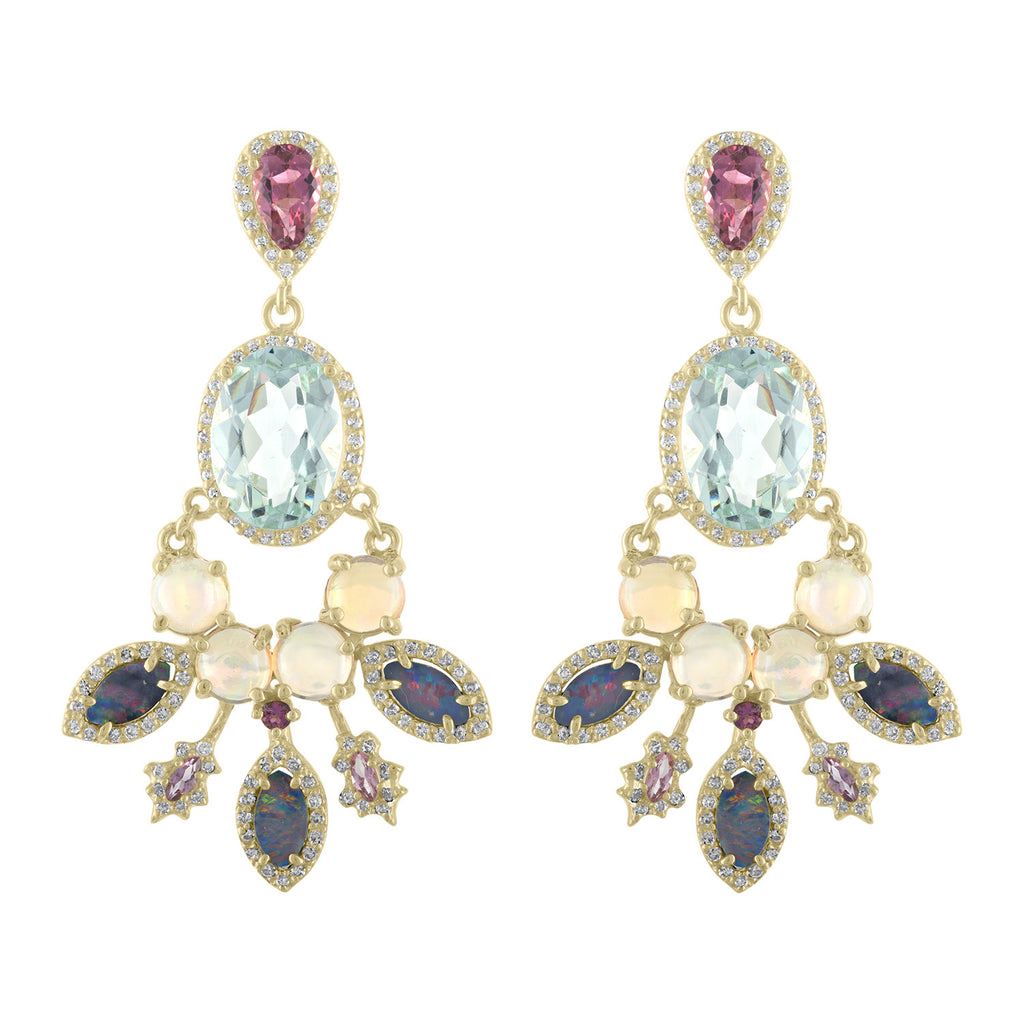 Elmerite Opal And Diamond Earrings