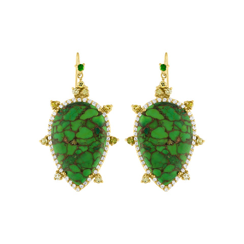 Green Turquoise Diamond Earring