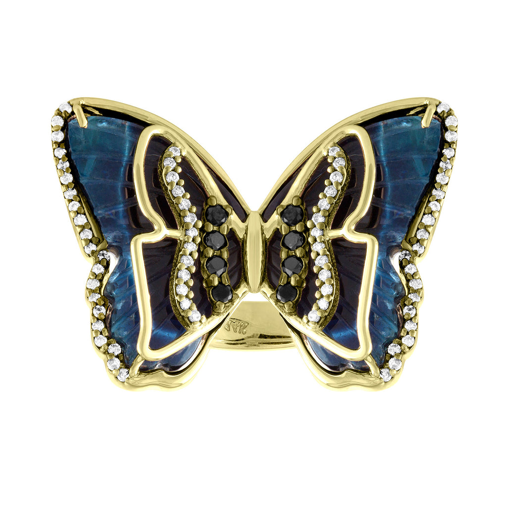 Mid Blue Tourmaline Butterfly Ring