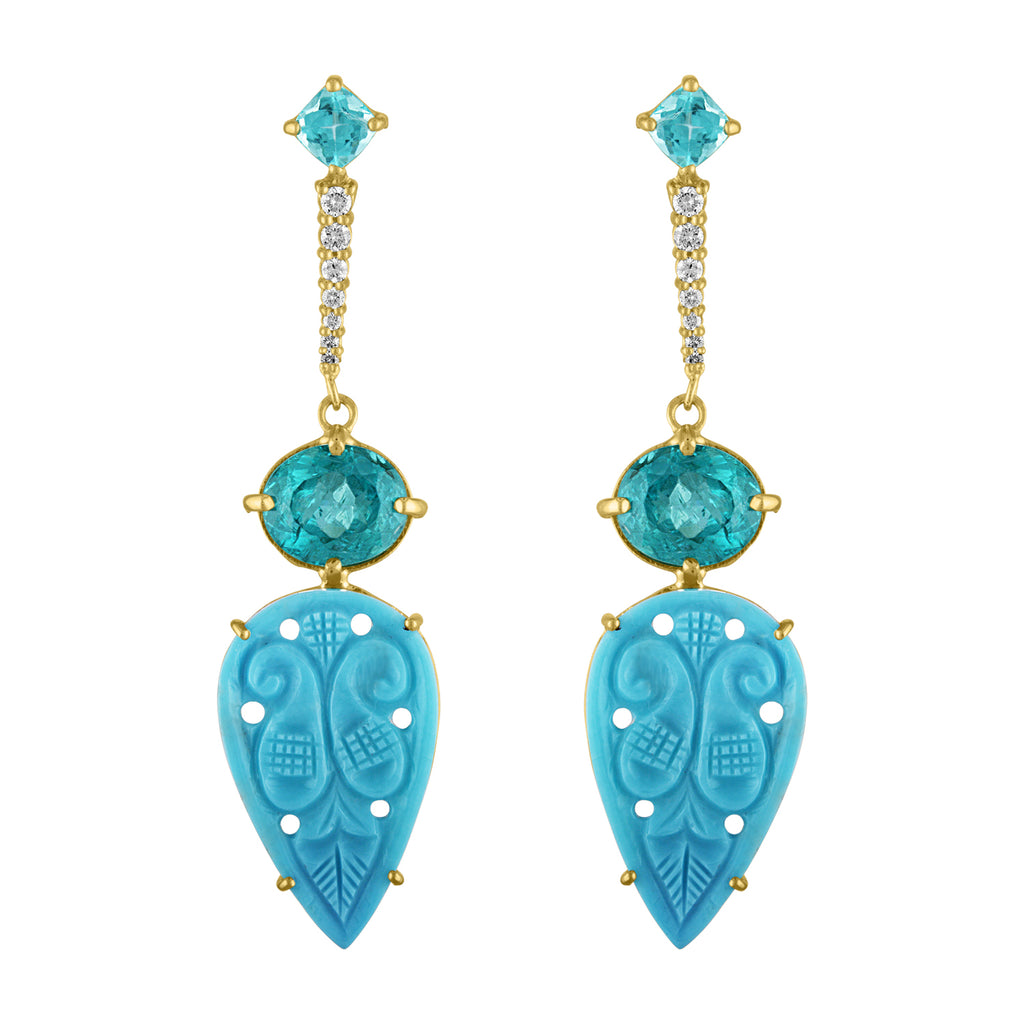 Turquoise Apatite Diamond Drop Earrings