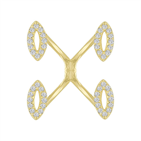 Marquise Diamond Crisscross Ring