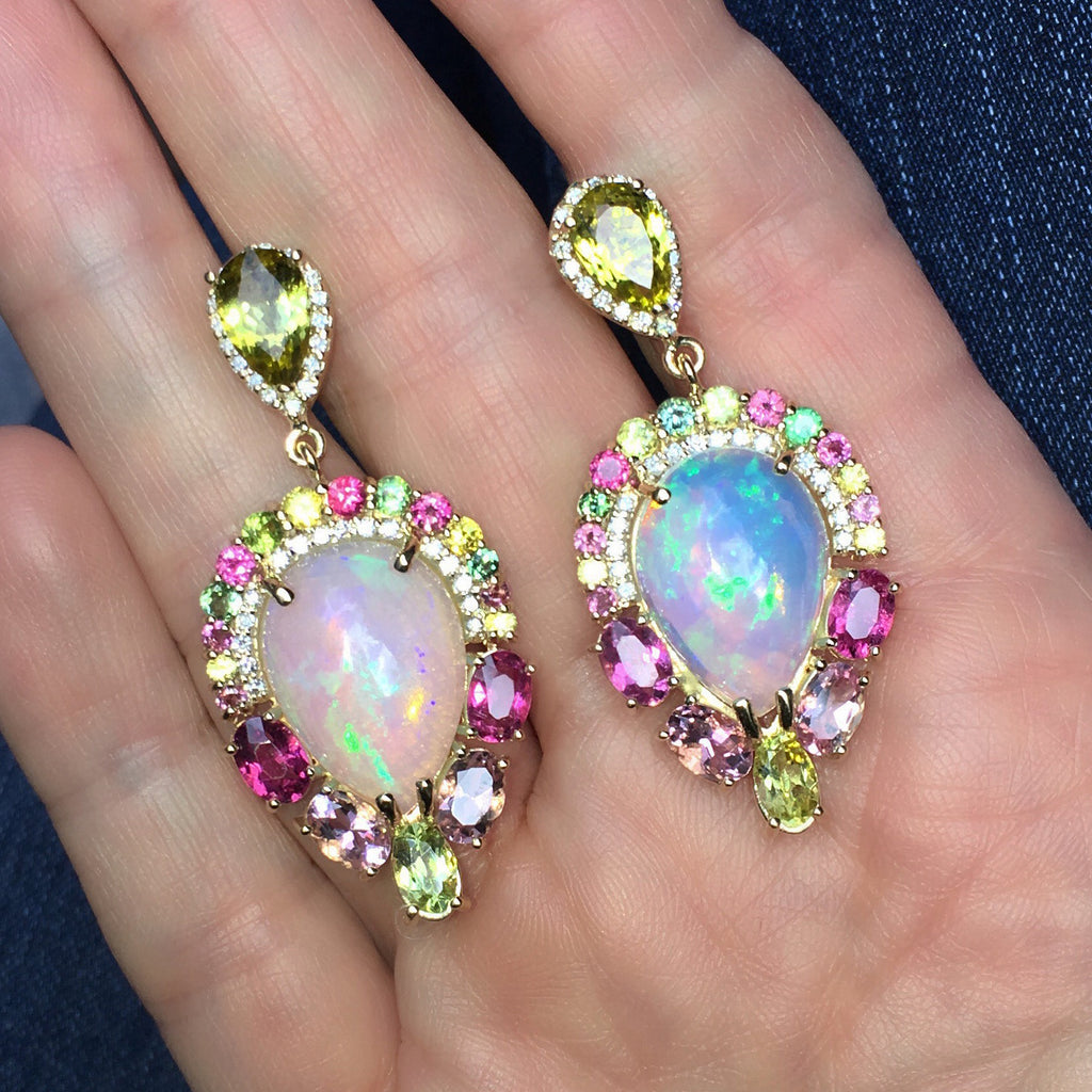 Yellow and mixed color Tourmaline, Opal and diamond earrings