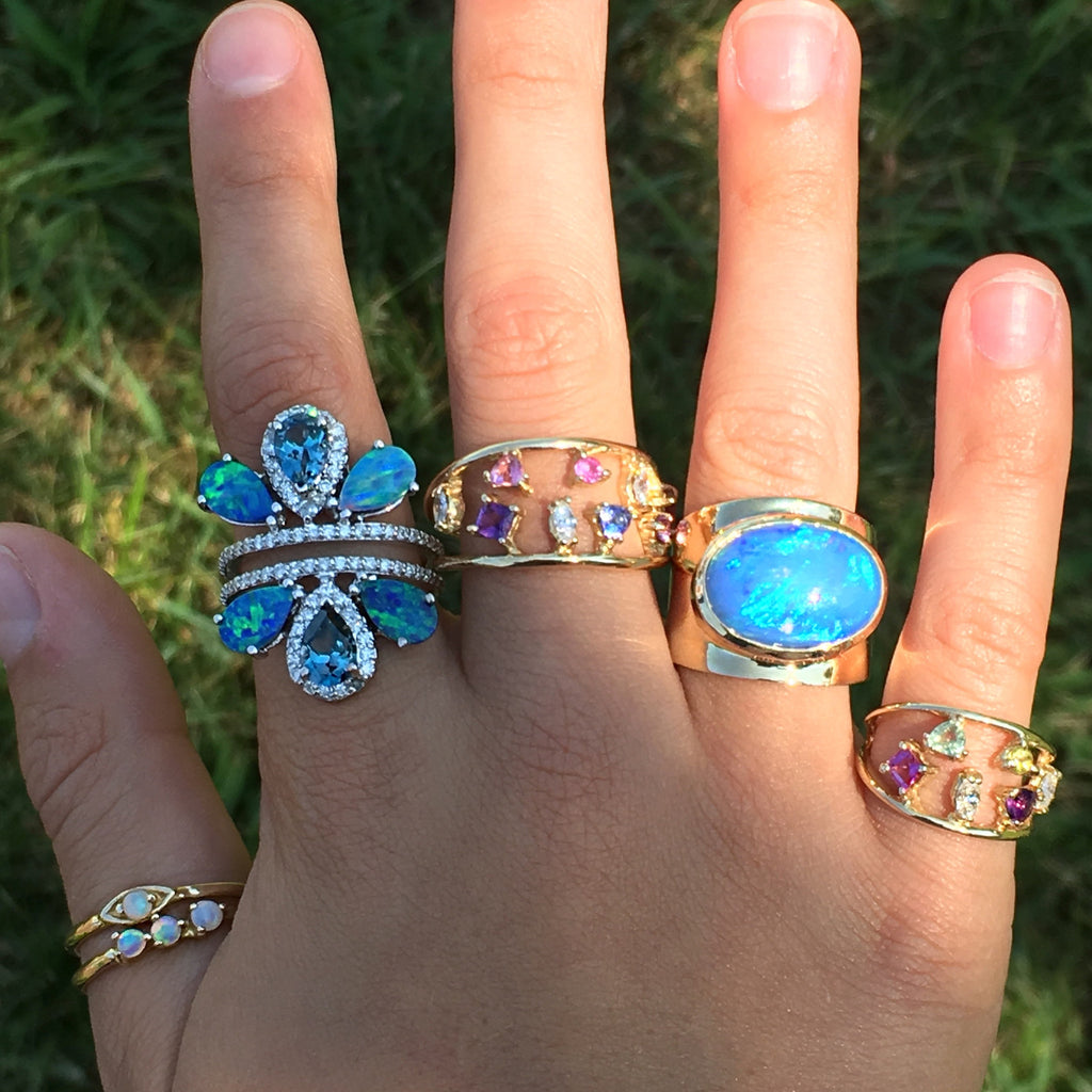 London Blue Topaz Boulder Opal Diamond Ring