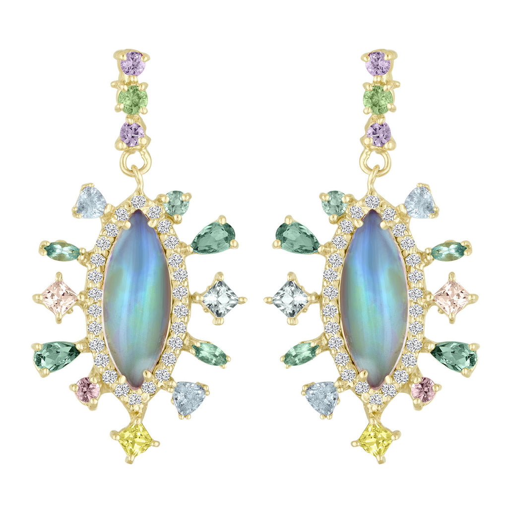 Opal, Sapphire and Diamond Earring