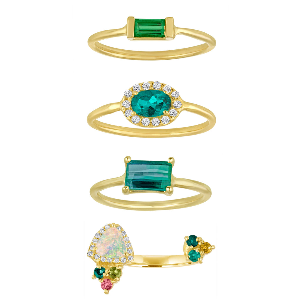 Tourmaline and Opal Stack Rings