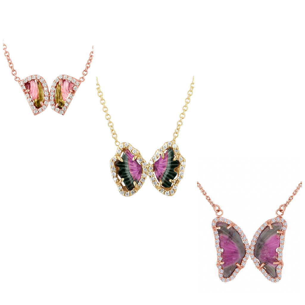 Carved Tourmaline Butterfly Necklaces