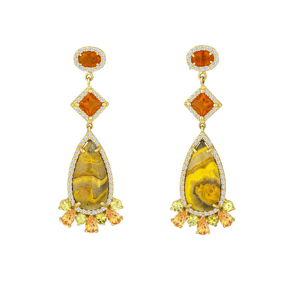 Manganese Sulfide Fire Opals Yellow Tourmaline Diamond Earring