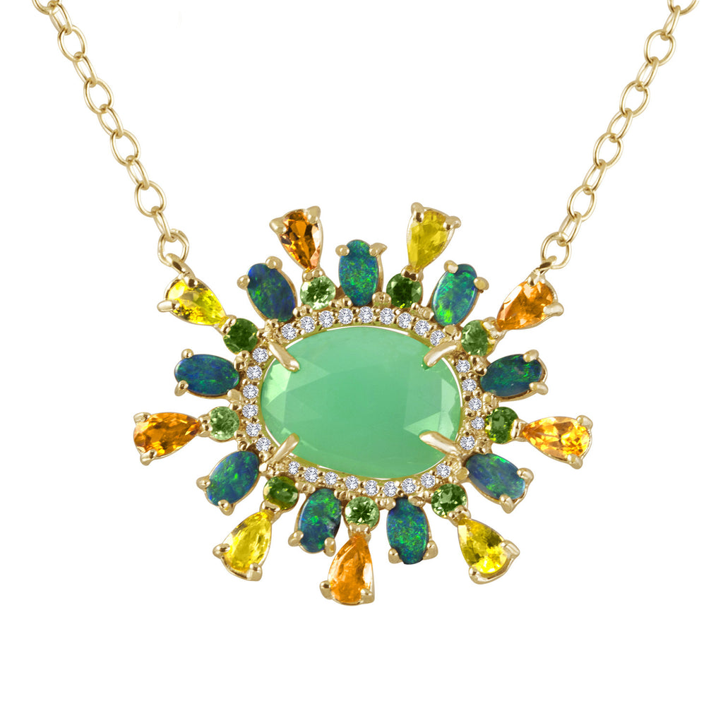 Chrysoprase Diamond Necklace
