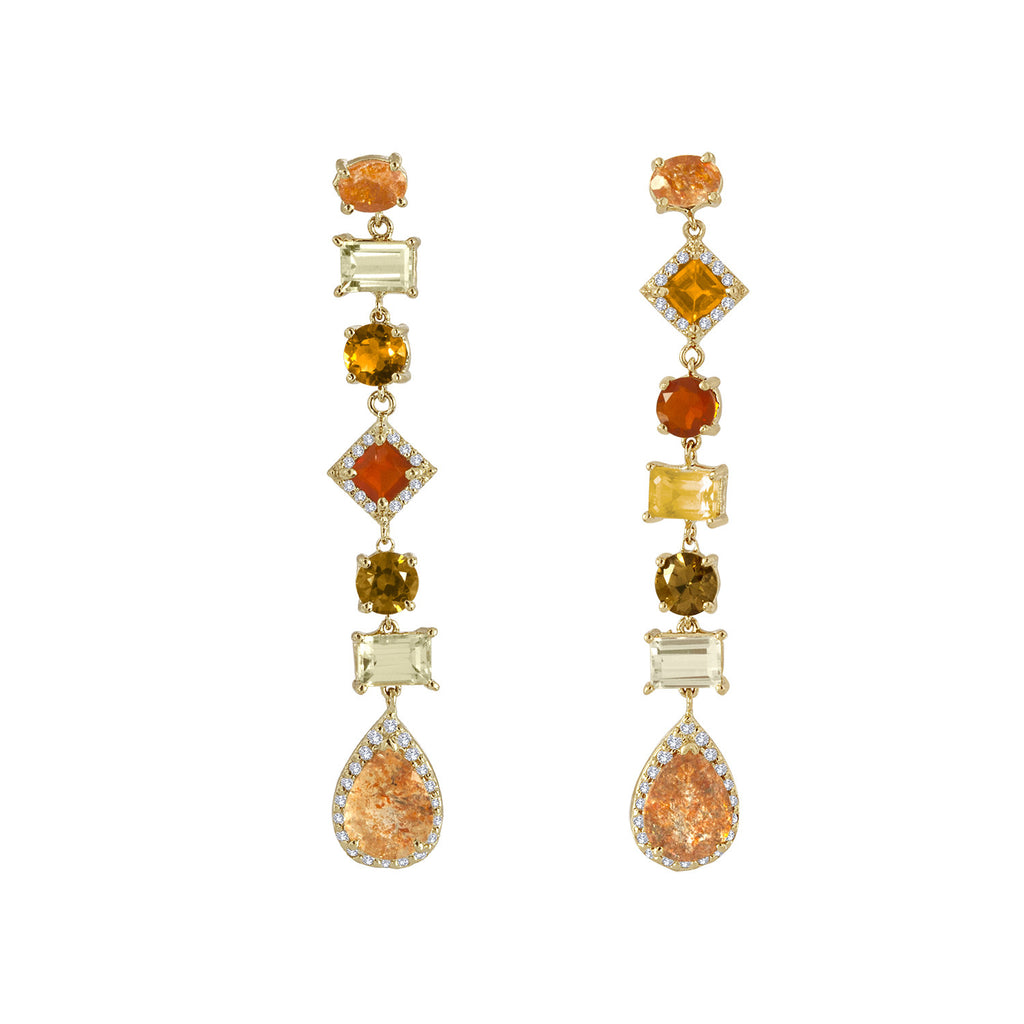 Sun Stone, Fire Opal, Beryl Diamond Earrings