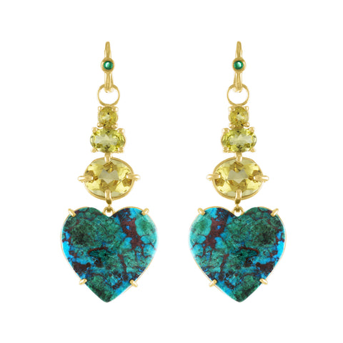 Chrysocolla Yellow Tourmaline Dream Love Earrings