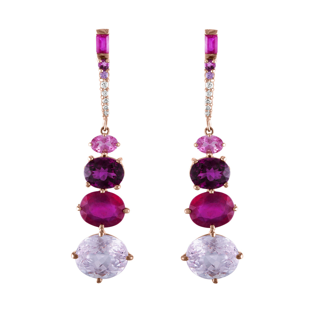 Kunzite Ruby Grape Garnet Drop Earrings
