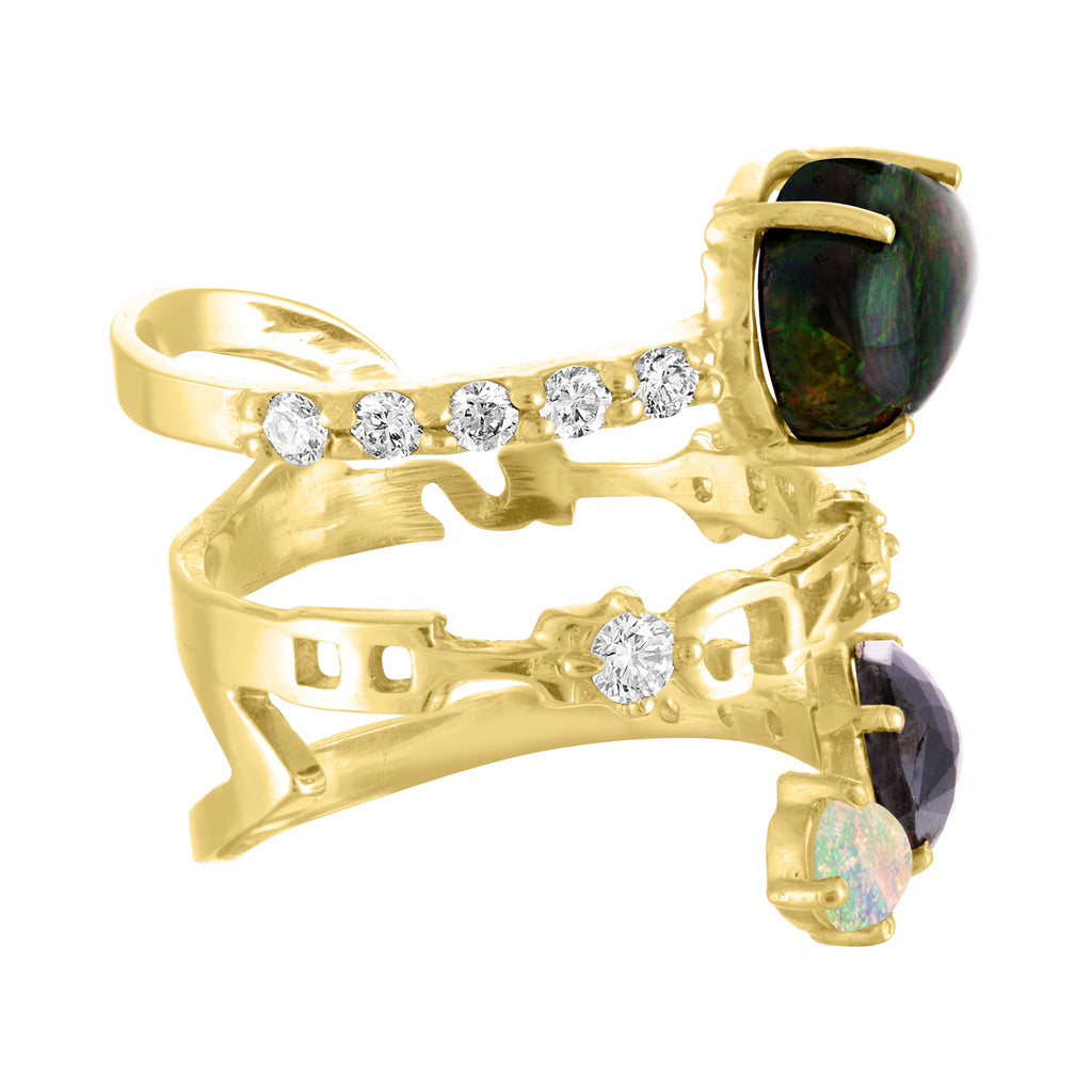 Black Opal Black Diamond Strength Ring