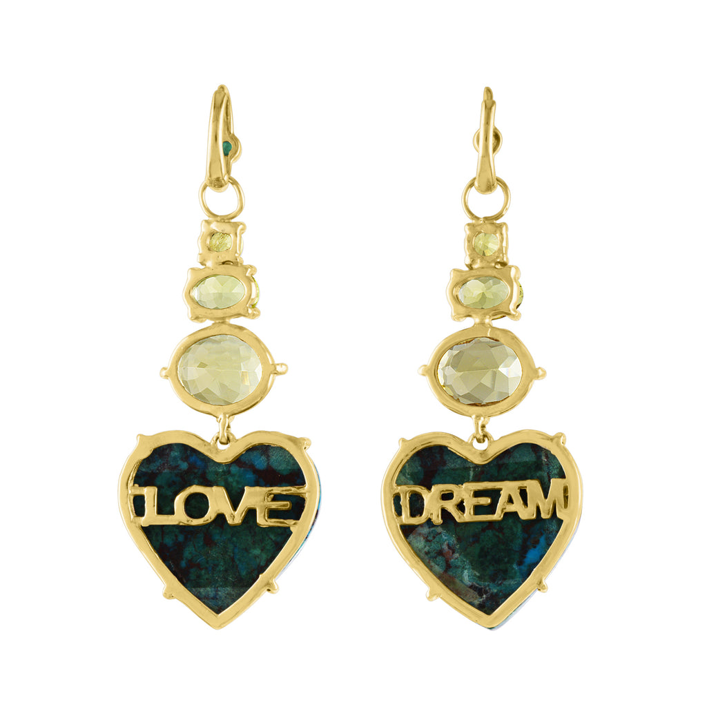 Chrysechola Yellow Tourmaline Dream Love Earrings