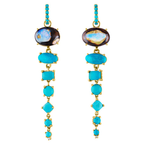 Boulder Opal and Turquoise Shoulder Duster