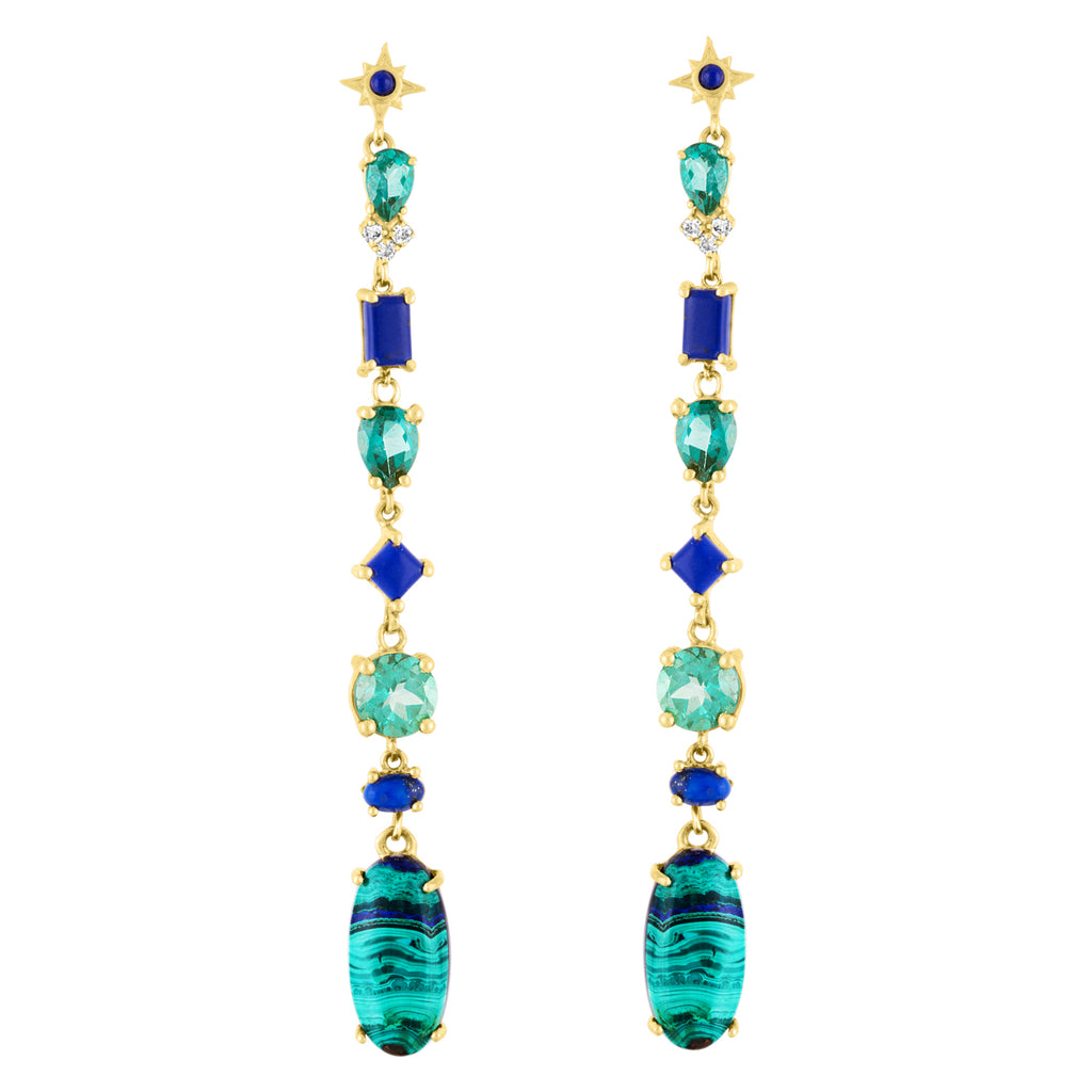 Malachite Azurite Green Topaz Shoulder Duster