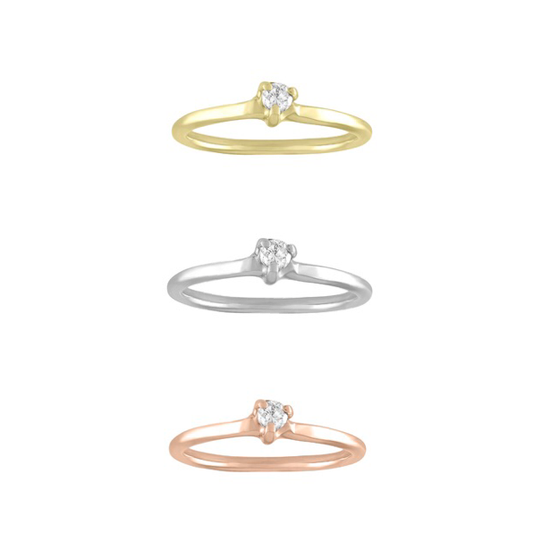 2.4mm Round Diamond Pinky/Midi Ring